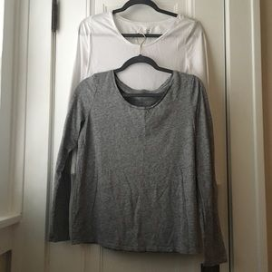 Loft gray and white long sleeve fitted tee lot L